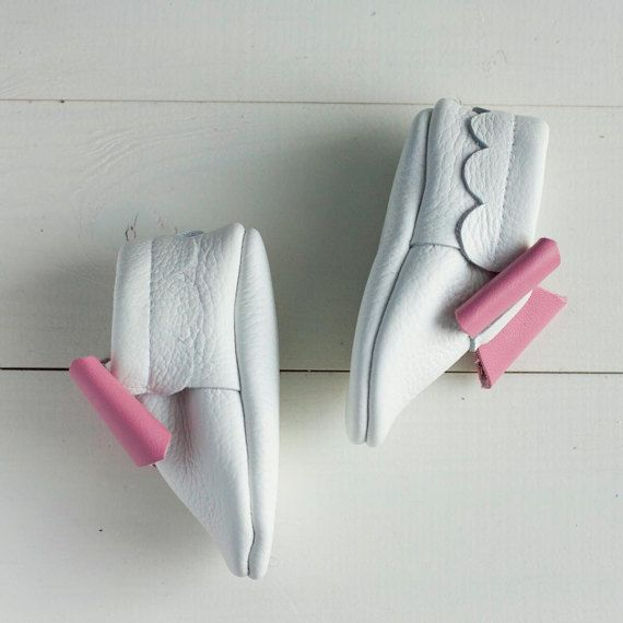 White leather moccasins with pink bow  Baby girl moccs , Baby, infant, toddler moccasins