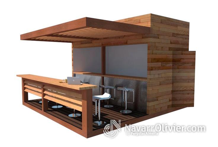Proyecto de chiringuito con terraza en madera de pino tratada, acero y revestimiento en cedro rojo.  navarrolivier.com  #proyecto #kiosco #chiringuito #caseta #modular #diseño #beachbar #3d #carpinteria #navarrolivier