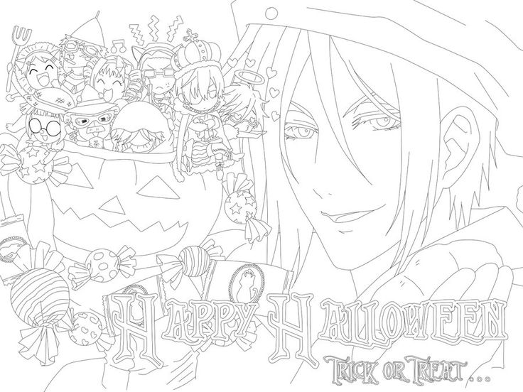 happy halloween everyone a kuroshitsuji black butler free to use line art rules dont remove signature give proper credit both me for the lineart an - Black Butler Chibi Coloring Pages
