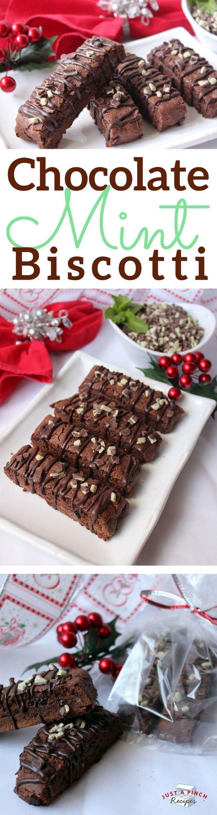This divine biscotti is full of chocolate flavor and has just enough of the refreshing mint flavor to give them a holiday flair. I love that the actual biscotti dough has chocolate/mint flavor and there are the chocolate chips and Andes candies to give an extra punch of flavor.