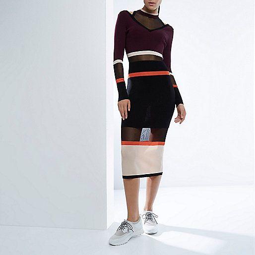 RI Studio black stripe knit sheer panel dress - maxi dresses - dresses - women