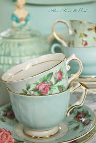 Aiken House & Gardens: Soft Aqua/ Very lovely tea set..... The design with roses catches my eye right away since I love roses too.... Did you know that Jesus is the Rose of Sharon????? It says so in God's Word..... The Rose of Sharon is a beautiful rose tree..... My daughter Tina has a number of beautiful ones lining her driveway!!!!!