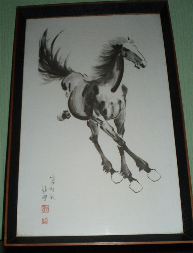 vintage large chinese horse filly framed print by hsu pi hung