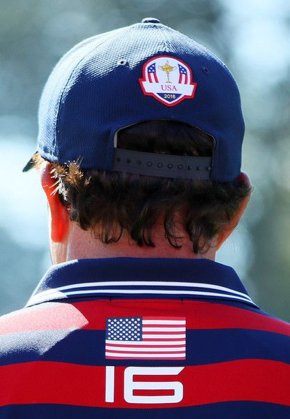Phil Mickelson of the United States looks on from the second green during afternoon fourball matches of the 2016 Ryder Cup at Hazeltine National Golf Club on October 1, 2016 in Chaska, Minnesota.