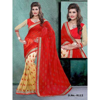 Buy Sareeline Red Faux Chiffon Saree by Mor Mukut Fashion, on Paytm, Price: Rs.2001