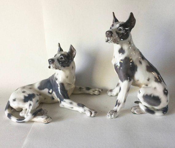 Dahl Jensen Porcelain Xlarge Great Dane Dog Pair 1111 1112