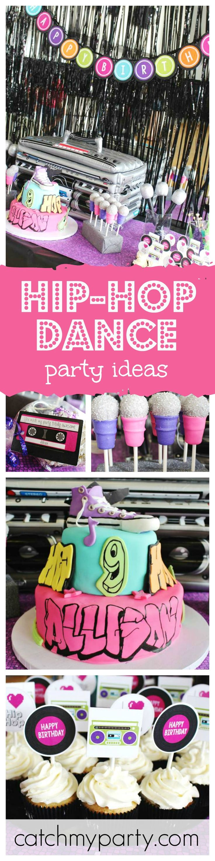 If you love to dance then you'll love this Hip-Hop Dance party. Check out the awesome microphone cake pops!!
