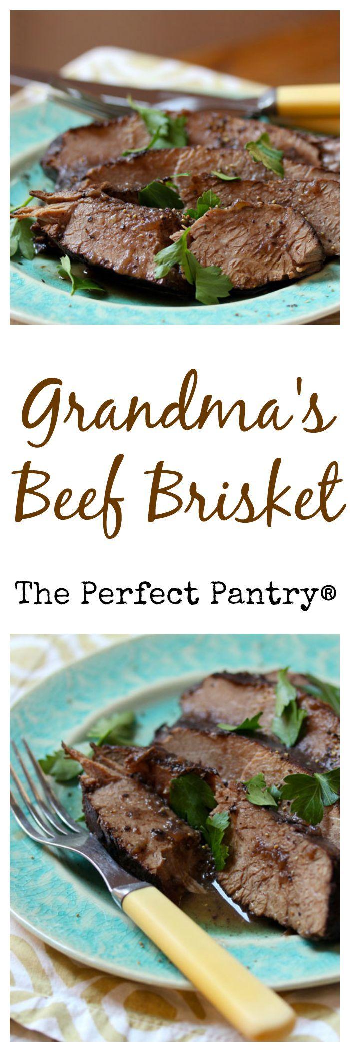 Grandma's beef brisket, braised in red wine until it practically falls ...