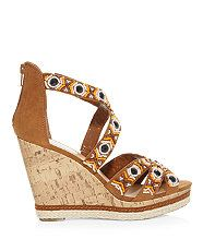 Tan (Stone ) Stone Beaded Plait Wedges | 308163218 | New Look