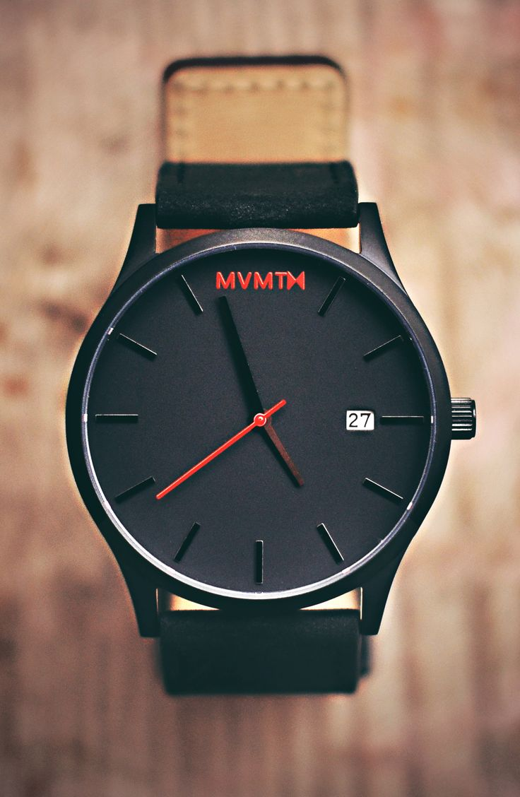 Black/Black Leather Watch X MVMT Watches Click Image To
