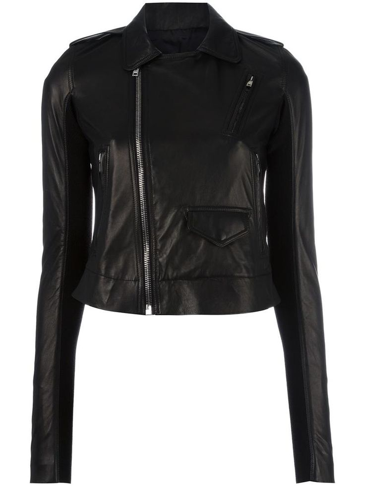 ¡Cómpralo ya!. Rick Owens - Stooges Biker Jacket - Women - Cotton/Leather/Cupro/Viscose - 42. Brutally fashionable, the new edit from Rick Owens is dark, rebellious and entirely wearable. This black leather and cotton Stooges biker jacket from Rick Owens features a cutaway collar, epaulettes on the shoulders, an off-centre front zip fastening, front zipped pockets, a front flap pocket and long sleeves. Size: 42. Gender: Female. Material: Cotton/Leather/Cupro/Viscose. , chaquetadecuero…