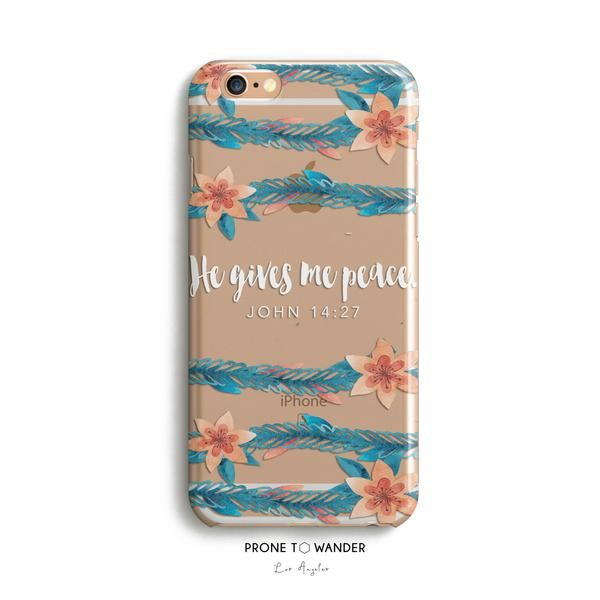H80 - HE GIVES ME PEACE - TPU Clear Christian Phone Case with Bible Ve – Prone to Wander