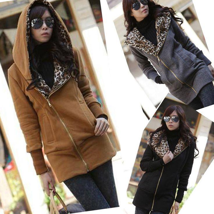 2014 gratis winkelen casual hoodie sweatshirt rits lange mouwen vrouwen luipaard jasje warme trui w3913