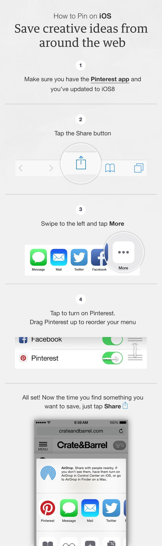 Pin Tip: Once you've added the Pin It button to your iPhone, you're just a few taps away from Pinning your newest finds. http://pin.it/TQI28FV