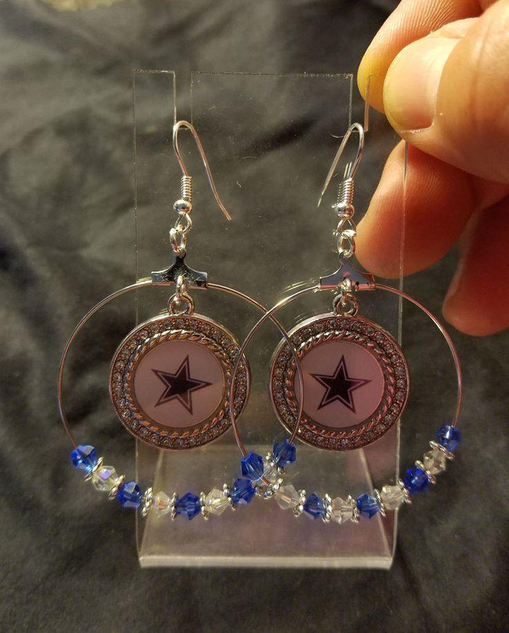 Dallas Cowboys Dangling Charm Hoop Earrings #DallasCowboys