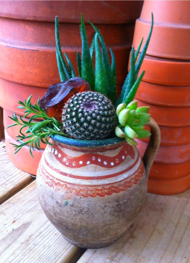 1579 best mexican decor images on pinterest mexican for Cactus in pots ideas