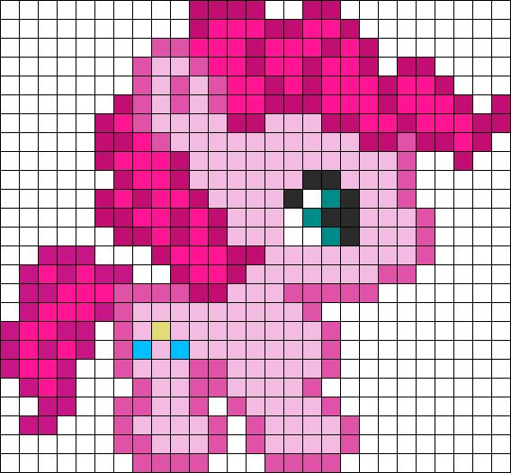 Cute Pinkie Pie perler bead pattern - Could also use for Stranded Knitting!