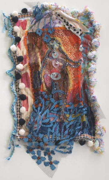 "CHRISTINE SAUER ""Red House""  24x18""  2012 $1200.00  mixed media: stitched, beaded"