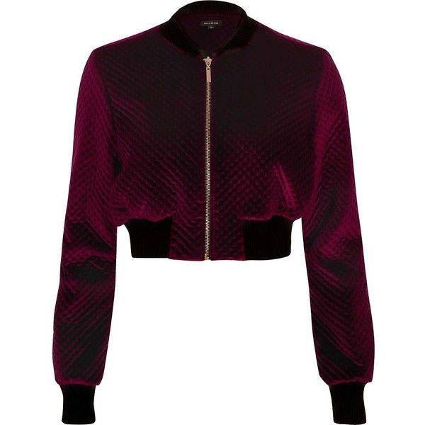 River Island Burgundy velvet cropped bomber jacket ($37) ❤ liked on Polyvore featuring outerwear, jackets, cropped jacket, purple jacket, burgundy jacket, bomber style jacket and long sleeve crop jacket