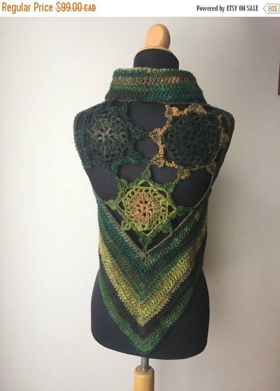 On sale!  #etsy shop: Annual Winter Sale Crochet Pixie Fae Gypsy Wool Sun Mandala Vest Waistcoat brown green forest