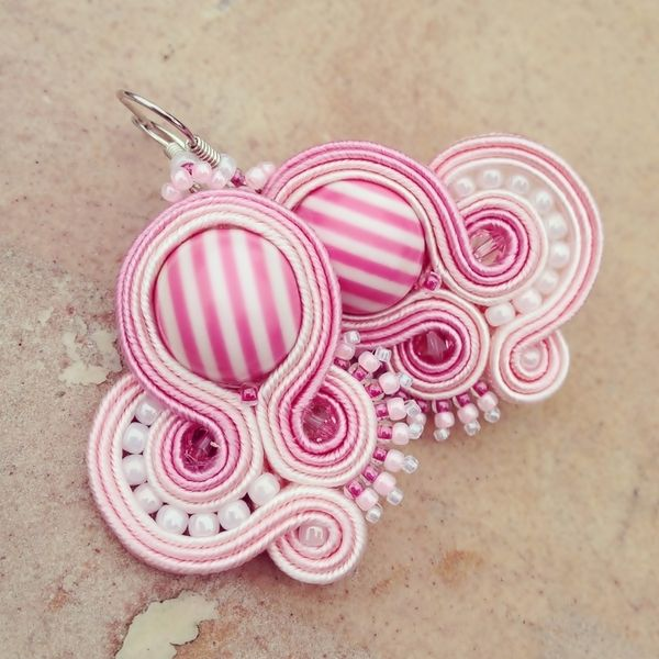 candy pink soutache earrings