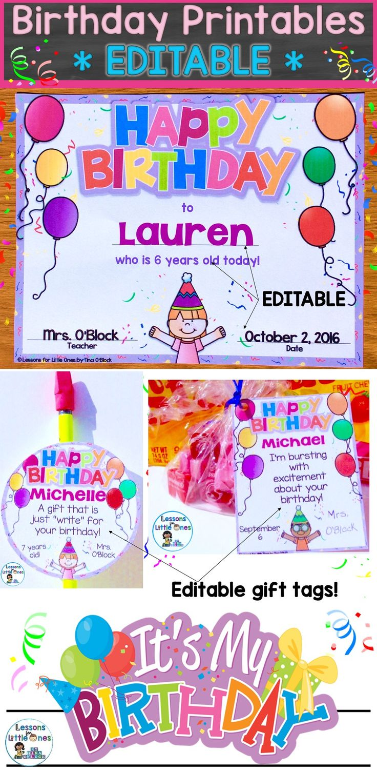 Best 25 birthday certificate ideas on pinterest student birthday certificates student gift tags brag tags crown editable 10 designs xflitez Image collections