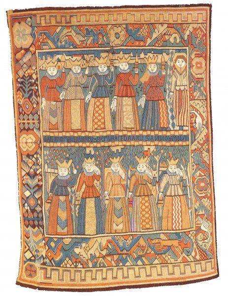 Norsk billedvev 1550-1800 / absolutetapestry.com  De fem vise og de fem dårlige jomfruer, omkring 1750, fra Gudbrandsdalen. Kunstindustrimuseet, Oslo.