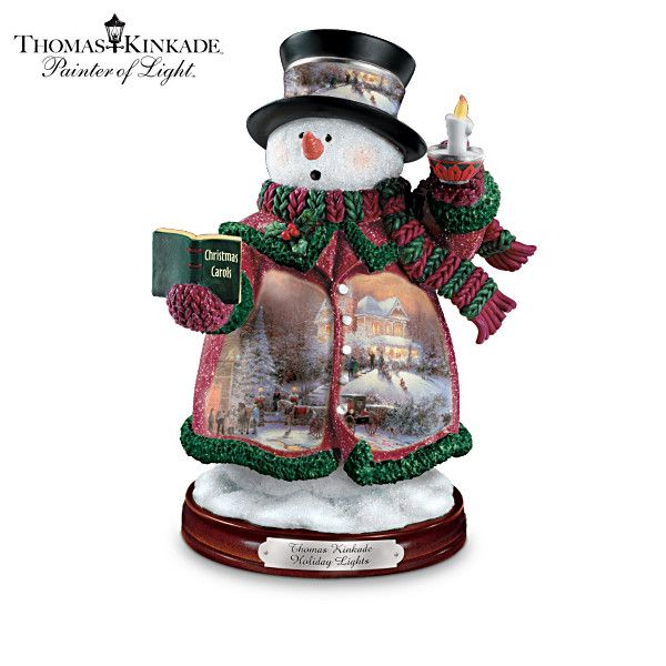 """Quirky Gifts Happy Home Decor Now Online In India: Thomas Kinkade's """"Holiday Lights"""" Snowman Figurine"""
