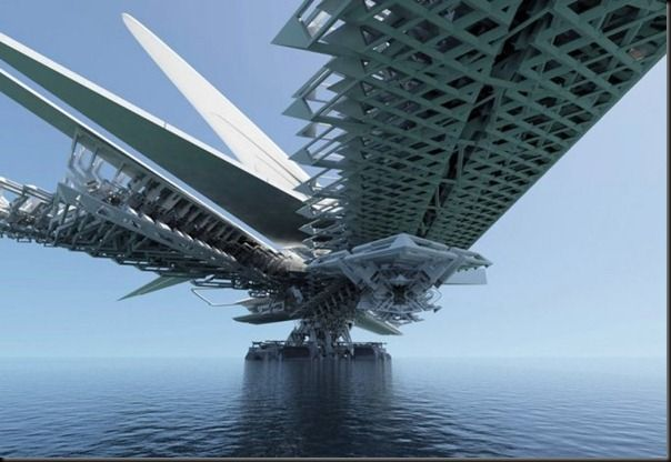Future technology Concept of Floating decomposable dragonfly bridge