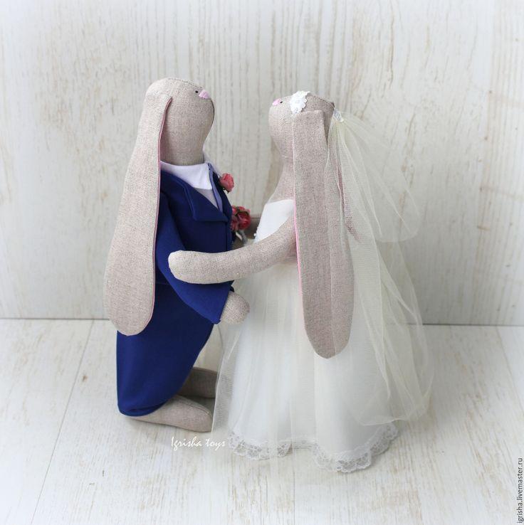 Купить Свадебные именные зайки - свадебная пара, свадебные зайцы, пара зайцев, невеста, жених