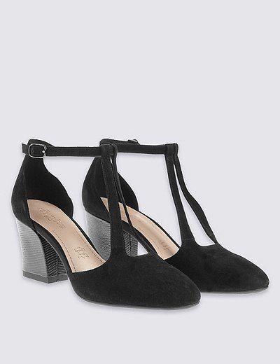 Suede Angular Heel Court Shoes   Marks & Spencer London