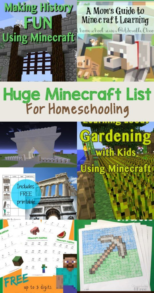 HUGE list of Minecraft homeschooling resources. Lots of subjects covered! Check…