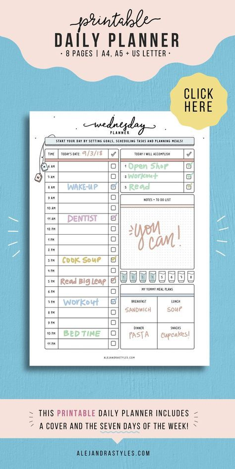 Daily Schedule Printable, Hourly Daily Planner, Productivity Agenda