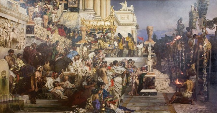 """Henryk Siemiradzki """"Pochodnie Nerona"""" (1876), Muzeum Narodowe w Krakowie - Sukiennice"""