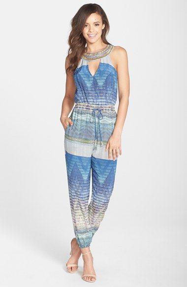 Charlie Jade Embellished Keyhole Print Jumpsuit available at #Nordstrom