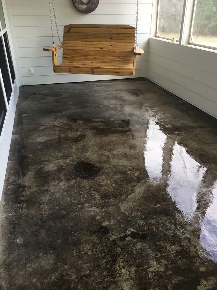 Gray Acid Stained Concrete Porch