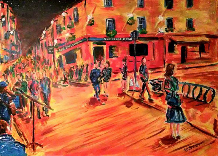 The Busker at Temple Bar: The Busker at Temple Bar Description: An acrylic painting of Temple Bar in Dublin City at night on a… #IrishArt