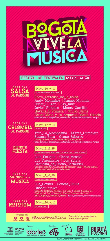 Afiche / Poster Festival Bogotá Vive la Música Concepto, diseño, branding y desarrollo. Trabajo realizado para el Instituto Distrital de las Artes IDARTES. Bogotá, 2014. #poster #typography #design #graphicdesign #branding #logo
