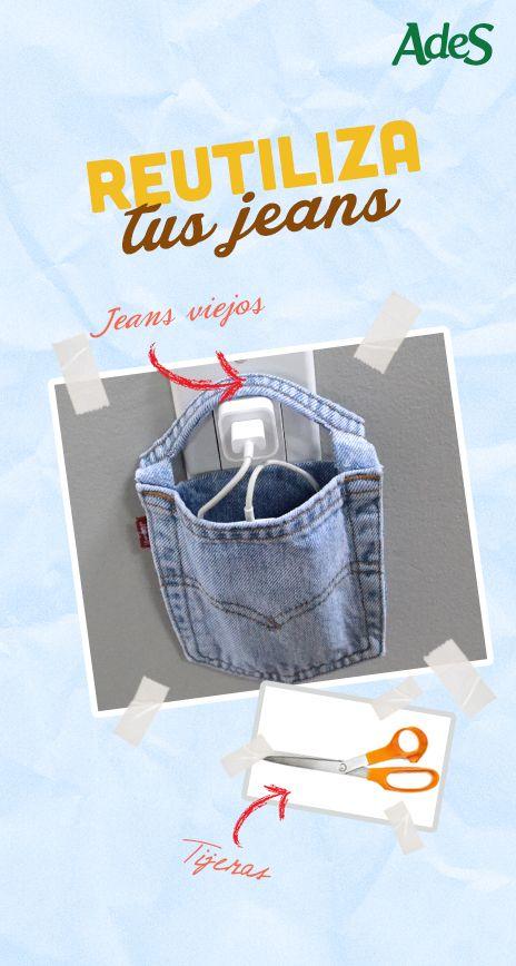 ¡Jeans viejos, pasados de moda, demasiado anchos, patas de campana… no los deseches! Recicla los bolsillos de tus jeans viejos y que ya no usas y conviértelos en un perfecto bolsito cargador de tu celular. Así no lo dejas expuesto a alguna caída o que alguien lo estropee. Sólo debes recortar el bolsillo que desees en la forma que aparece en la imagen y listo. ¿Fácil, no?