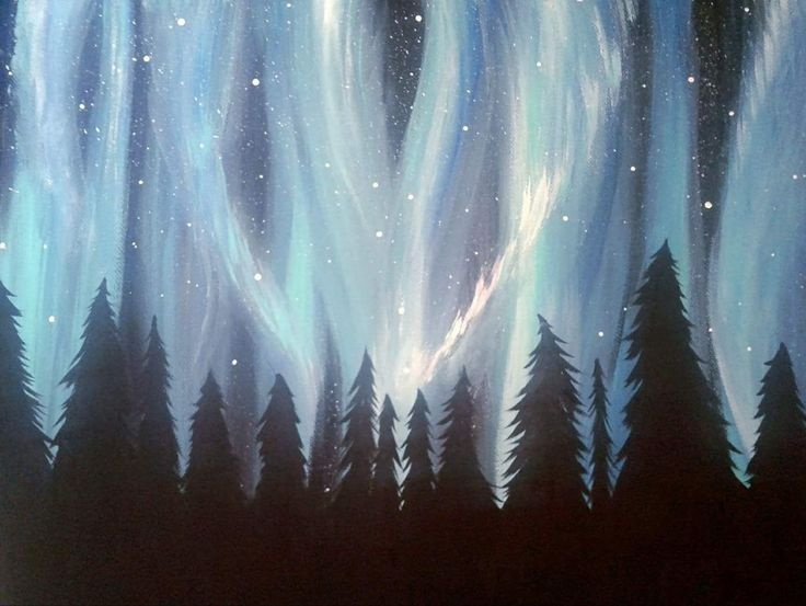 Northern Light Dance. Acrylic on canvas~ trees and sky~