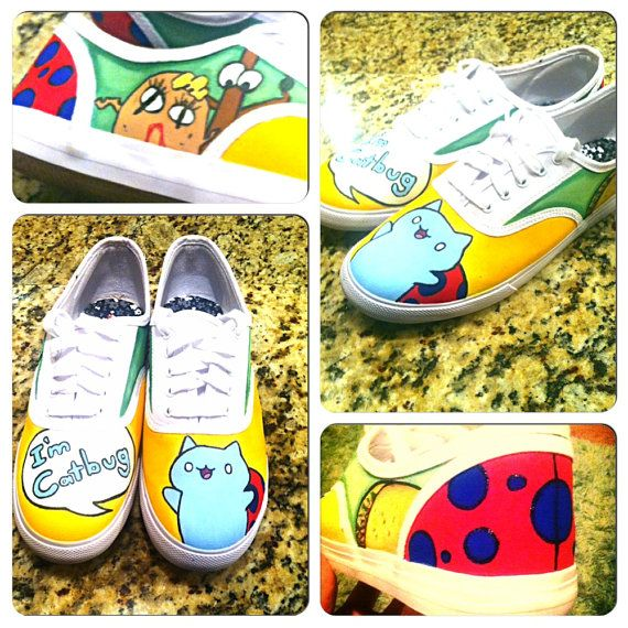 Hand Painted Catbug Shoes By ThePigeonShoeParlor On Etsy Handpaintedshoes