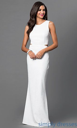 Shop off white floor length gowns with sleeveless open back bodices at SimplyDresses. Long white formal dresses with cut outs and slits for parties.