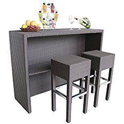 Lovely Resin Wicker Bar Set