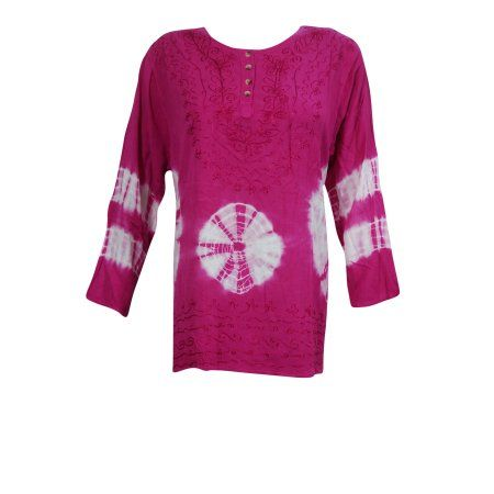 Mogul Womens Fashionable Top Tie-Dye-Embroidered Pink Rayon Blouse  https://www.walmart.com/search/?grid=true&page=2&query=MOGUL+INTERIOR+TOP#searchProductResult