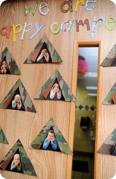 Photos of kids in tents craft for Camping theme