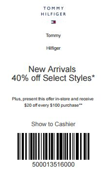 Tommy Hilfiger Coupon: 40% Off Select New Arrival Styles + $20 Off All Purchases Over $100