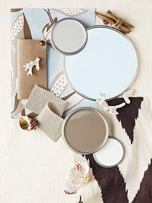 Top to Bottom, all colors are from Valspar. Frappe 6003-1B, Ice Rink Blue 4007-5B, Safari Beige 6006-2B, Dove White 7002-7