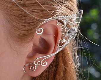 Blue Topaz Elf Elven Ears Earcuffs by BeautyCreek on Etsy