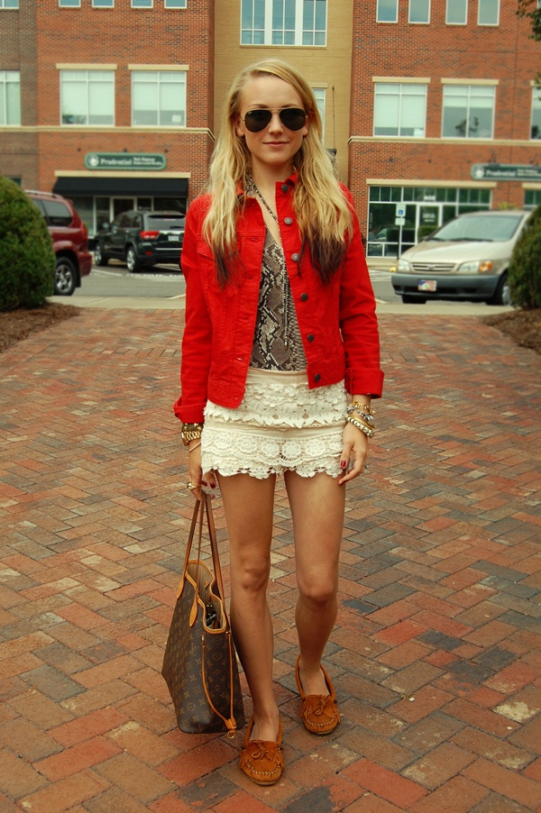 lace shorts, red denim jacket - love her outfit!