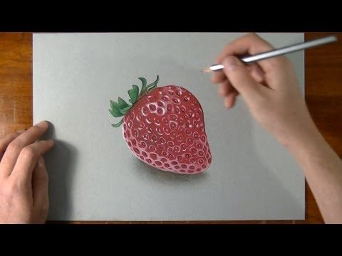 How I draw a strawberry 3D illusion drawing <<< This is amazing! And white colored pencils just became a ton more useful